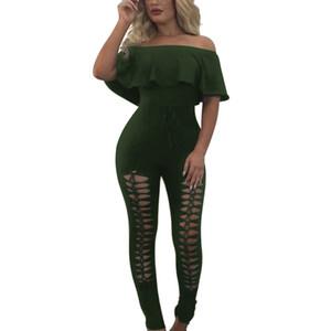 Şık Bayan Seksi Kapalı Omuz Üst Straplez Tulum Tulum Moda Tek Parça Kıyafetler Artı Boyutu Birçok Renk Ücretsiz Seçti