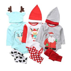 3 pcs Xmas Set Bebê Recém-nascido Meninas Meninos Conjuntos de Roupas de Manga Longa Tops Romper + Deer Longo Calças Chapéu Outfits
