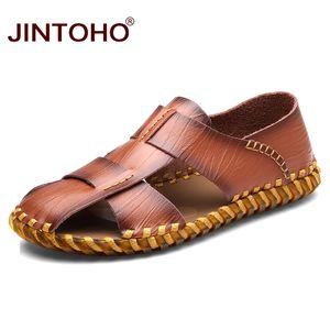 JINTOHO Moda Gerçek Deri Erkekler Sandalet Erkek Sandalet Kahverengi Deri Yaz Plaj Erkekler Sandalias Ayakkabı