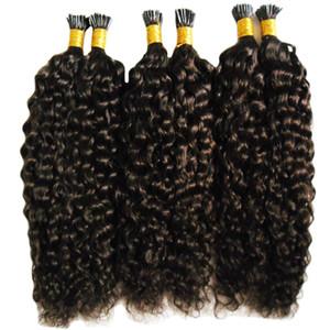 Mongol afro Kinky Curly Hair Keratin Stick Tip Extensiones de cabello 300 g Puntas de extensión de cabello precintado I Tip Fusión humana