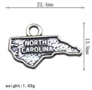 Heißer Verkauf Alloy Karte Charme North Carolina Wort Charms Für Schmuck Machen Fit Dit Armband Charms Halskette