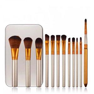 12 pz Nake N3 Pennelli Trucco Set Tech Kit Make Up Brush Set pincéis de maquiagem Contenitore di Metallo Imballaggio DHL LIBERA il Trasporto