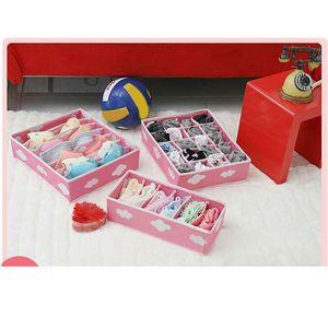 3 In 1 Storage Box Pink Grid Pattern Folding Organizer for Underwear Bras Necktie Sock Storage Box Underwear Rangement Organizer
