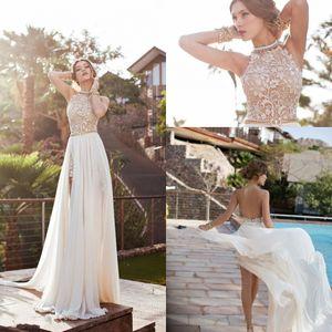 Abito da Julie Vino Beach 2020 Prom Dress Halter Lace Pearls chiffon di alta Split Backless greca Boho sfera Lace Gown Cocktail Party Train HY0528