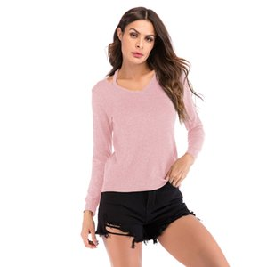 2018 autumn new T-shirt small shoulder strap v-neck long-sleeved t-shirt female European and American casual fashion women's solid color shi
