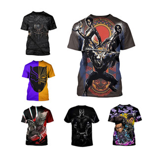 Venta al por mayor T shirt Pantera Negro Camisetas Moda Tee Movie camisetas Pareja Camiseta S-5X Plus Size Hombre Manga Corta 3D Tops de Impresión 12 Colores
