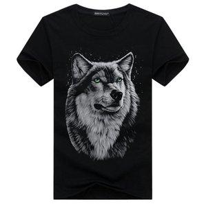 2018 summer large size casual short-sleeved men T-shirt wolf head printing tide men