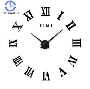 3d 큰 벽 시계 로마 숫자 거울 벽 스티커 DIY 거실 홈 장식 패션 시계 도착 석 영 벽