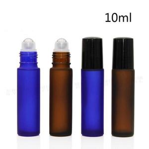 venta caliente vacío 10ml Azul helado de vidrio marrón rollo en los biberones con bola de acero inoxidable con rodillos para aceite esencial del perfume uso cosmético