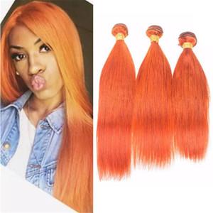 Чистый цвет жгут оранжевый волосы пучки шелковистый прямой оранжевый перуанский человеческих волос ткет расширения 3 шт. Много смешанная длина Dhl бесплатно