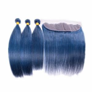 4pcs / lot sedoso oreja recta para el oído extensiones de cabello humano frontal pelo brasileño color azul 3 bundles con cierre frontal de encaje 13x4