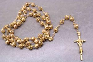 가톨릭 고품질 모방 골드 중공 묵주 목걸이. 예수 그리스도 Golden Cross Necklace 산타 마리아 롱 체인 8 mm