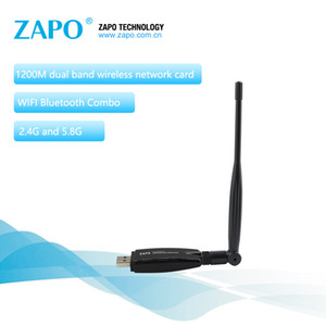ZAPO Power Bluetooth 4.1 Agregue 5.8G WIFI 1200 Mbps Adaptador LAN inalámbrico USB 3.0 5dbi Antena Tarjeta de red para Windows Linux Android