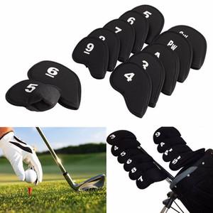 Tête de club de golf couvre fer Putter Tête de protection couvre-chef Set Black Sports Golf Accessoires 10pcs / lot