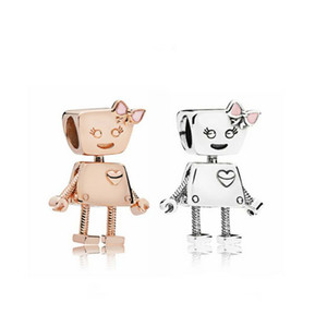 Primavera New 925 Fits Sterling Silver Bella Robot Charme ouro rosa Esmalte grânulo por Pulseira DIY para Mulheres Jóias Acessórios
