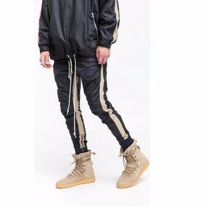 2017 New khaki Black stitching bottoms side zipper pants hip hop Fashion Casual urban clothing jogger pants M-XXL