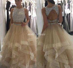 Sparkly Two Pieces Champagne Prom Dresses 2018 Jewel Hollow espalda piso longitud Major Beading largo Formal noche vestidos fiesta abiti da ballo