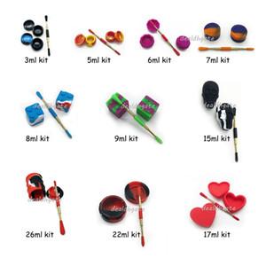 Dab Tools Kit di vasetti di olio di cera di silicone5 7 vasetti di 22ml per contenitori di cera Kit di strumenti per dabber per cera 22ml
