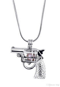 Yeni Tasarım Silah Kafesi Kolye, Tabanca şekli İnci Gem Boncuk Madalyon Kolye Montaj, DIY Takı Charms Aksesuar P70
