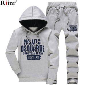 Spor Takım Elbise Erkek Survetement Spor Riinr Yeni Bahar Erkekler Set Polar Astarlı Sweatshirt + Pantolon Erkek Ter Eşofman