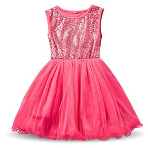 Yaz Kız Sequins Robe Fille Enfant Çocuklar Doğum Günü Kıyafetler Tül Çocuk Bebek Kız Giysileri Bebek Çocuk Okul Elbise Vestidos