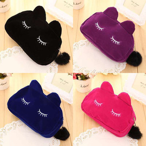 Portable Cute Cat Storage Bag Flannel Pouch Travel Make up Storage Bag Coin Storage Cosmetic Bag