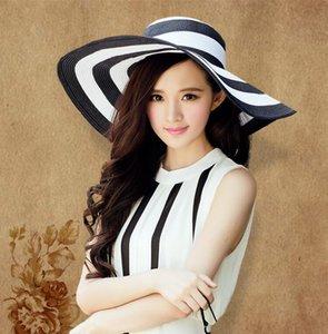 Summer Sun Hat Girl Classic Black and White rayé Vintage large grand grand bouchon de paille à rayures Beach Beach chapeaux Femmes SunCreen Chapeaux 6 couleurs
