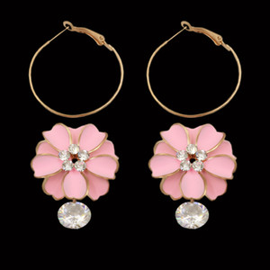 Brillante Jewerly Pink Flower Boucles D'oreilles Pour Les Femmes Female Gold Color Cercle Hoop Earrings Déclaration Boucles D'oreilles 2017