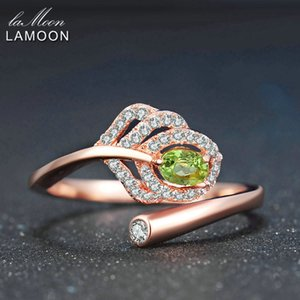 LAMOON Classic Leaf 100% Natural Oval Green Peridot 925 Sterling Silver Ring Women Jewelry S925 Rose Gold Plated LMRI055 Y18102610