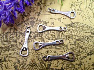 150 pezzi - Charms apribottiglie, pendenti in argento antico tibetano con cavatappi pendenti 25x8mm