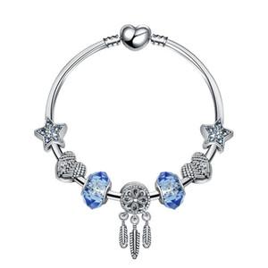 18 + 3 CM Charm Beads Pulseras Pulsera de moda Dream Catcher Colgante 925 Brazalete de plata estrella azul DIY Accesorios de joyería Regalo de boda