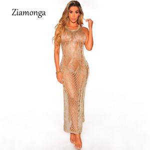 Ziamonga Stylish Crochet Long Sundress Summer High Split Hollow Out Metallic Knit Ripped Beach Dress Women Bandage Vestidos