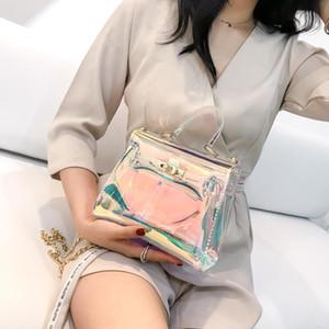 Sacos de mensageiro a laser doces mulheres moda geléia bolsa Transparente Sacos de ombro de Plástico hasp Cadeias de Bloqueio bolsas holográficas