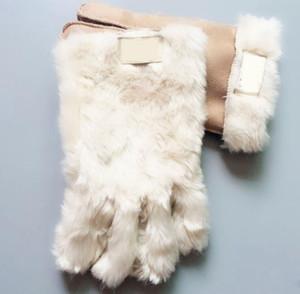 العلامة التجارية الجديدة الفاخرة قفازات مصمم جلد الغنم الفراء خمسة أصابع قفازات الشتاء بلون القفازات الدافئة