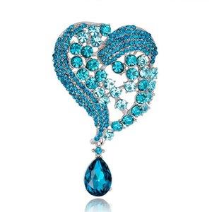 Haute qualité broches en métal argent plaqué cristal strass coeur broche épingles foulards boucle chapeau sac à main accessoires