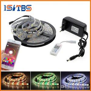 Tira CONDUZIDA 5050 RGBW / RGBWW 5 M 300LEDs Fleixble Fita luzes da corda + LED Controlador Bluetooth RGBW + DC 12 V 3A fonte de Alimentação