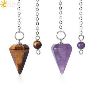 CSJA tamaño pequeño tigre Reiki pendular de piedra natural de curación del amuleto colgante de cristal de meditación hexagonales péndulos para Hombres Mujeres F366