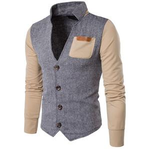 Son Tasarım Standı Yaka Erkek Takım Elbise Düğün Groomsmen Takım Elbise Ceket