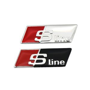 4 pz Alluminio Sline RS Distintivo Dell'emblema 3D Sticker Car Styling Volante Accessori Finestra per Audi A1 A3 A4 A6 A7 Q1 Q3 Q5