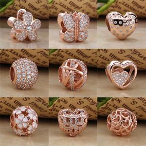18ct Rose banhado a ouro Nos 925 Sterling Silver DIY Bead charme Fits seleccionados Europeia Pandora Jóias Pulseiras e colares