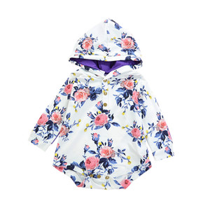 2018 Lovely Newborn Baby Clothes Long Sleeve Floral Hooded Romper Jumpsuit Playsuit Outfit Baby Clothes Spring Autumn Baby Girl Romper 0-24M
