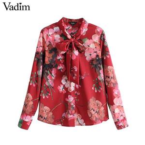 Vadim Frauen süße Fliege floral Shirt langärmelige plissierte Bluse Vintage weiblichen Frühling lässig chic Tops blusas LT2654