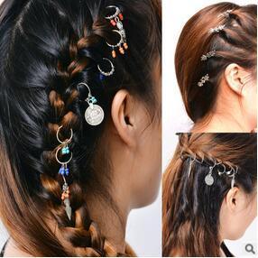 Europa und Amerika Cross Border E-Commerce Anhänger Mode Trend Dachrinne Kopf Haarspangen Blätter Münze Haarpflege Styling Werkzeuge Freier Versand