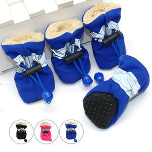 4 unids / set a prueba de agua de invierno zapatos del perro del animal doméstico antideslizante lluvia botas de nieve calzado grueso caliente para gatos pequeños perros cachorro perro calcetines botines