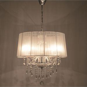 الكريستال الأنيق الظل النسيج الحديثة قلادة أضواء E14 E12 لمبة بريق دي كريستال شنقا الثريا الإضاءة لاعبا اساسيا غرفة نوم وغرفة معيشة