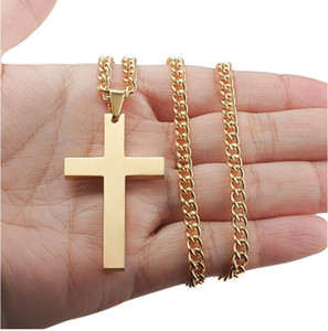 Pretty Gold Chain Jewelry Men Cross Pendant Necklace Link Chain Necklace Statement Charm Jewelry Black Silver Gold Plated Cross Necklaces