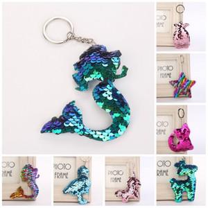 Paillettes colorées porte-clés ananas chat cerf licorne flamant porte-clés sirène étoile sac pendentif nouvelle arrivée 1 5wz bb