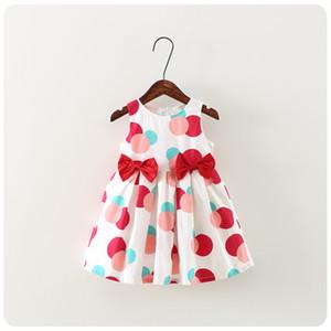 NEUE Mädchen Kleid Kinder ärmellose Tupfen drucken Bow Design Boutique Kleid kausalen Sommer Mädchen Dresskids Kleidung hoher Qualität
