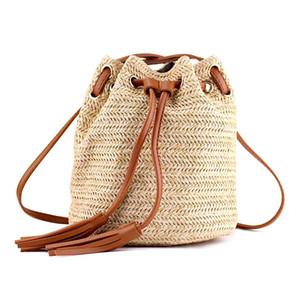 FGGS حقائب الكتف حقيبة السيدات النسيج الصيف الشاطئ مع شرابات النسيج حقيبة كروسبودي المرأة النسيج المال البنك محبوك شاطئ ها