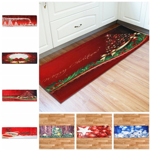 Anti Skid Backed Xmas Decor Floor Runner Area Rug Carpets Doormat Kitchen christmas Runner Rug Santa Claus christmas tree mats 60*180cm